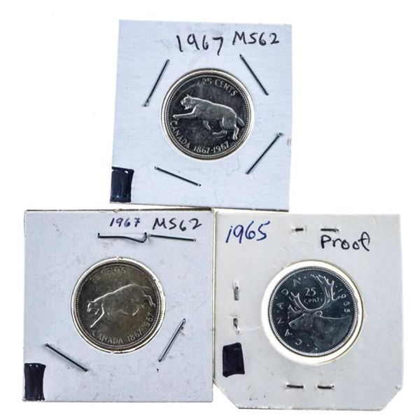 Lot 3 Canada Silver 25 cent Coins 1965-1967