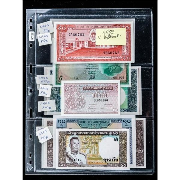 Group of 11 Notes of LAOS