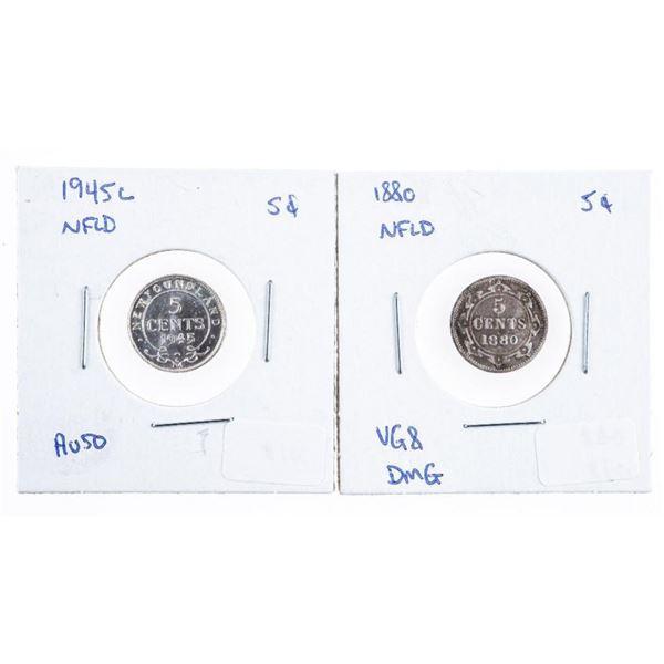 Lot 2 NFLD. 1880 & 1945C 5 cents