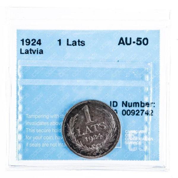 1924 Latvia 1 Lats AU-50 CCCS