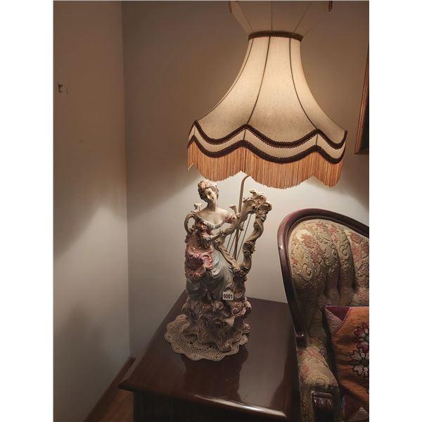 "Italian Lamp - Woman Playing Harp 45""H x 20""D"