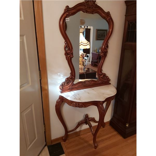 """Wall Mirror with Marble Top Hallway Table 74.75""""H x 36""""W x 17""""D"""