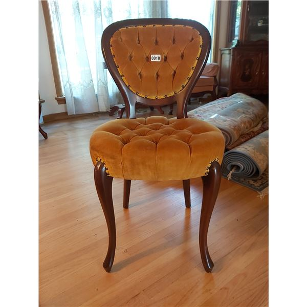 """Gold Coloured Padded Chair 18""""W x 34""""H x 17.25""""D"""