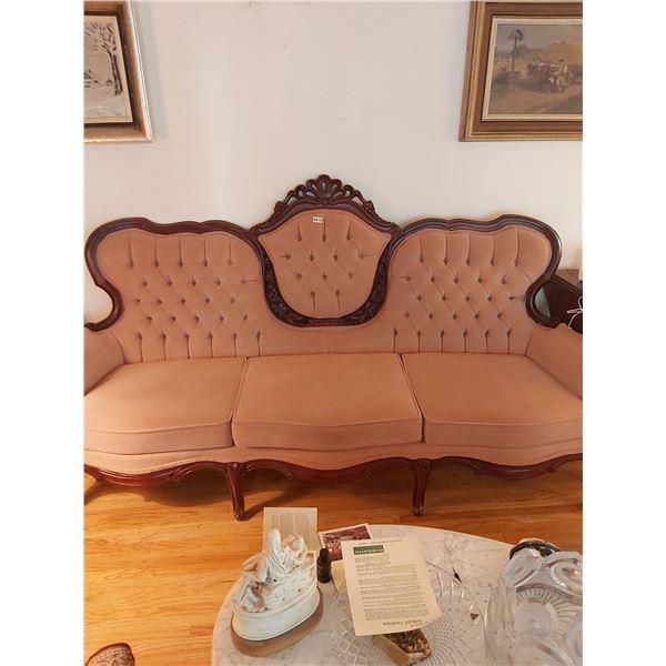 Rose Coloured Mahogany Couch - Valentino