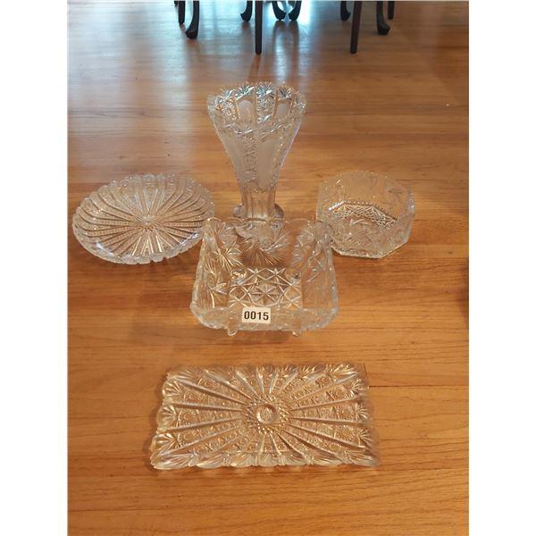 5 Piece Crystal Items - Vase, Bowls, Trays