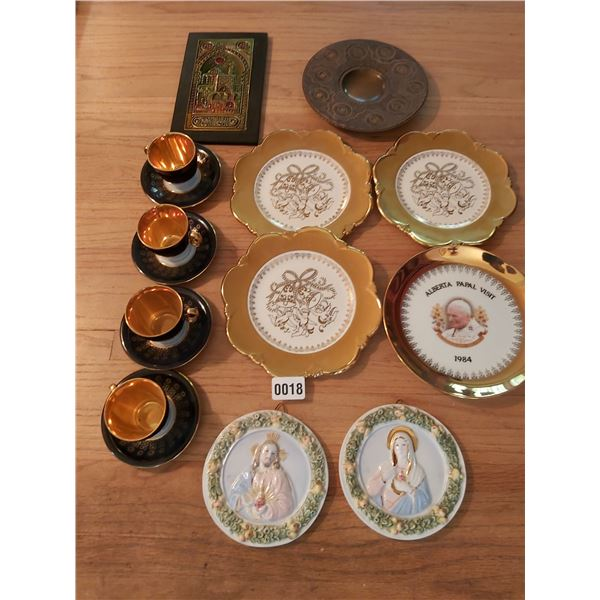 4 Demi-Tasse Cups & Saucers, Assorted Decorative Plates - Papal Plate 22K Gold