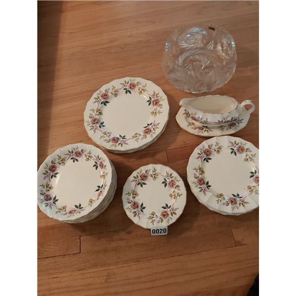 Empire Porcelain Company China - Debutante Pattern & Crystal Bowl
