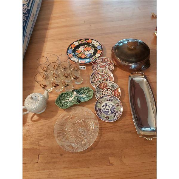 Assorted Glassware & Decorative Plates