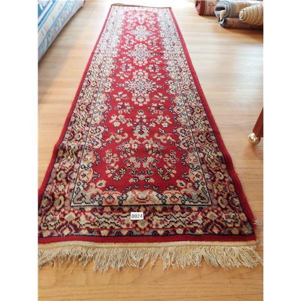"Red Wool Hallway Carpet Runner 9' L x 26.5""W"
