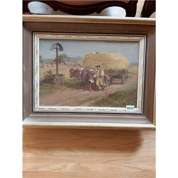 Cows & Farmer with Hay Wagon - Artist Unknown