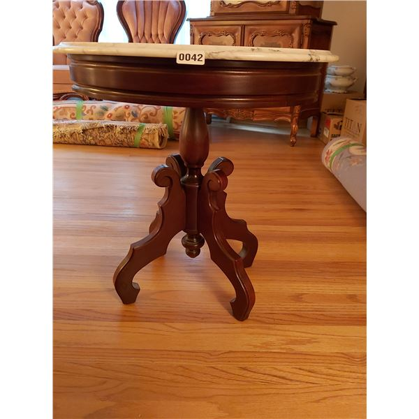 """Marble Top Oval Side Table 22""""L x 18""""W x 23.5""""H"""