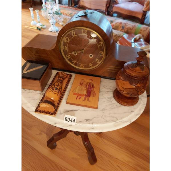 """Mantle Clock 21.25""""W x 9""""H x 6""""D & Assorted Wooden Home Decor"""