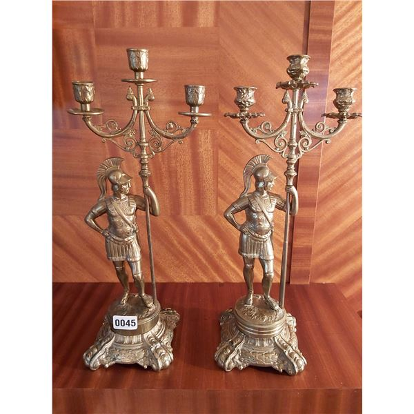 """Pair of Brass Roman Figure Candle Holders 19""""H x 8.5""""W"""