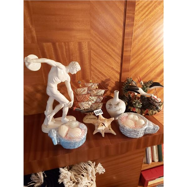 Assorted Home D'cor, Discus Thrower, Ship, Shell, Vase & Soap Baskets