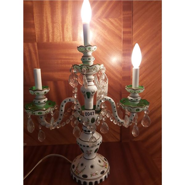 "Green Bohemian Crystal Table Chandelier 26""H x 19""W"