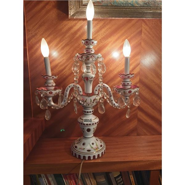 """Pink Bohemian Crystal Table Chandelier 26""""H x 19""""W"""
