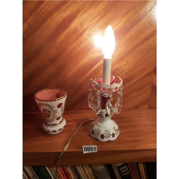"""Pink Bohemian Small Crystal Lamp 13""""H & Vase"""