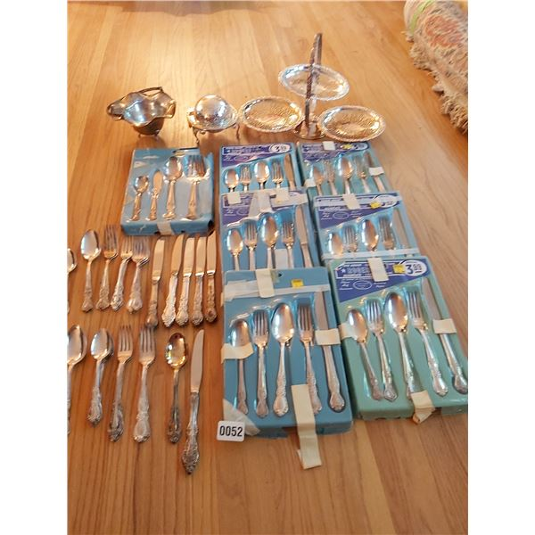 Assorted Silver Plated Utensils & Serving Dishes