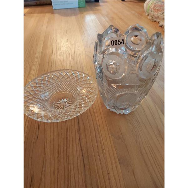 "Crystal Vase 12""H x 9""W & Bowl"