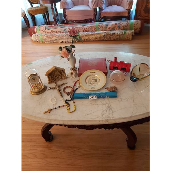Assorted Home D'cor, 24K Rim Christmas Plate, Dome Clock, Assorted Ashtrays, Rosaries