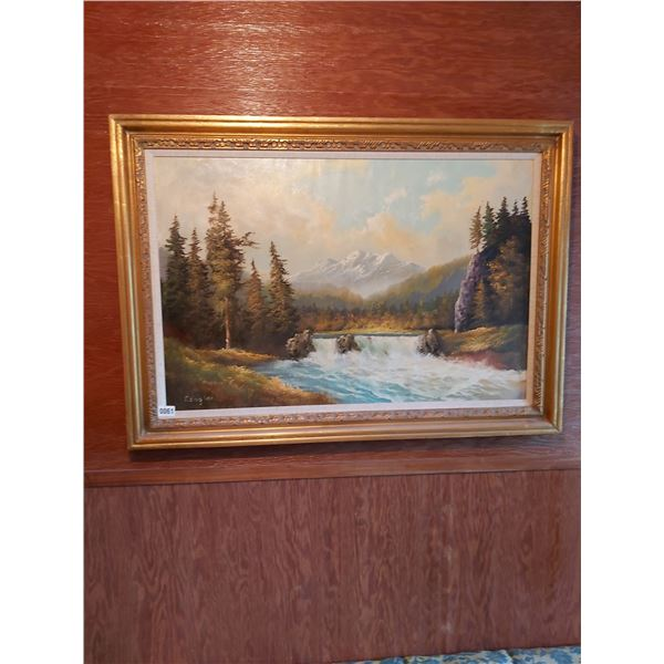 """Waterfall in the Mountains Painting - Artist P.Engler 42""""W x 30""""H"""