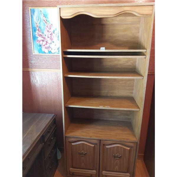 """Bookshelf with Bottom Cupboard - 26""""W x 76""""H x 14.25""""D"""