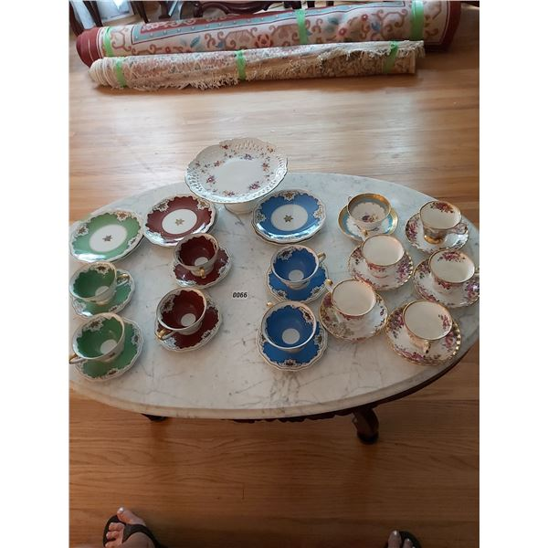 Assorted Plates, Cups, Saucers, & Cake Stand