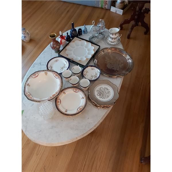 Assorted Plates, Cups, Saucers, Anniversary Items, Platters, Tray & Vase