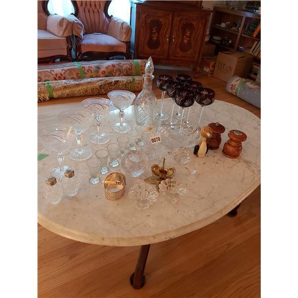 Assorted Crystal, Salt & Pepper Shakers & Wine Glasses