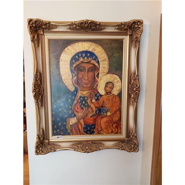 "Madonna and Child Painting - Artist J. Kluczynska 25.5""W x 31.5""H"