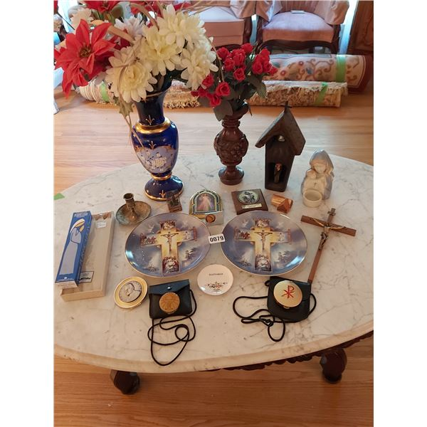 Assorted Home D'cor - 2 Limited Editon, Life of Christ Plates, Vases, Pill Boxes & Candles