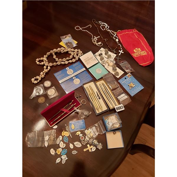 3 Pen & Pencil Sets - Assorted Religious Charms - Assorted Coins - Tokens - Shell Necklace - Buttons