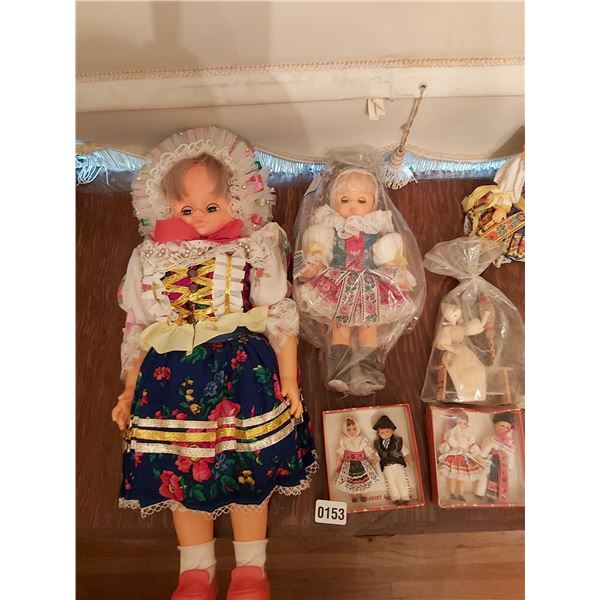 8 Dolls in Traditional Dress - 3 Small Wooden Dolls