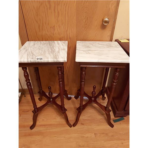 """2 Marble Top Tables 14""""W x 14""""D x 29""""H"""