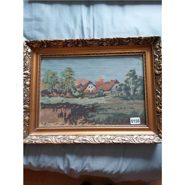 "Needlepoint - Farm Houses 22""W x 16.25""H"