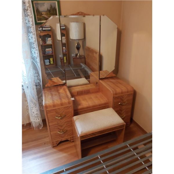 """Vanity Table with Mirror and Stool 46.5""""W x 18""""D x 65""""H"""
