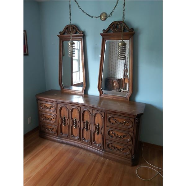 """Chest Of Drawers (Golden Pecan) & 2 Mirrors 74""""W x 20""""D x 80""""H with Mirrors"""