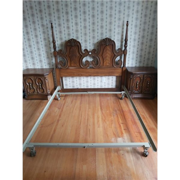 Queen Size Bed Frame with Headboard & 2 Bedside Tables