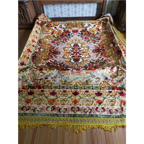 "Colorful Vintage Bedspread approx 96""W x 96""L"