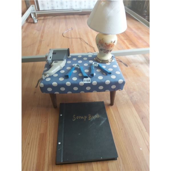 Footstool - Lamp - Scrapbook - Exercise Equipment - Vintage Movie Camera