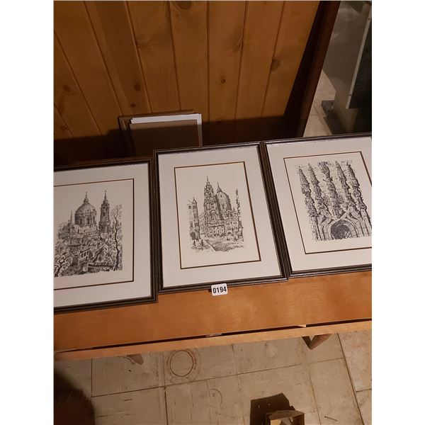 """3 Limited Edition Drawings 14""""W x 16""""H Artist Unknown"""