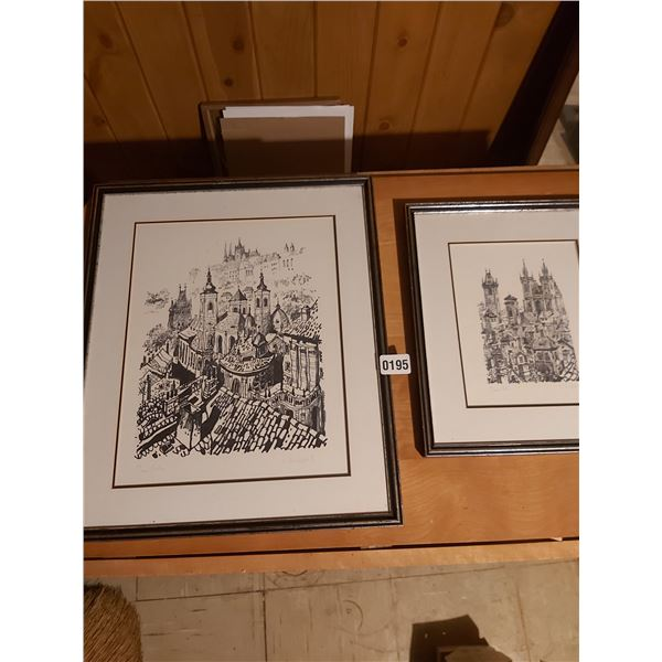 """2 Limited Edition Drawings 16"""" x 19"""" & 12"""" x 13.5"""" Artist Unknown"""