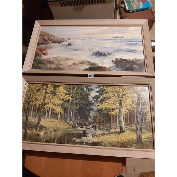 """2 Framed Pictures - Artist Unknown 33""""W x 17""""H"""