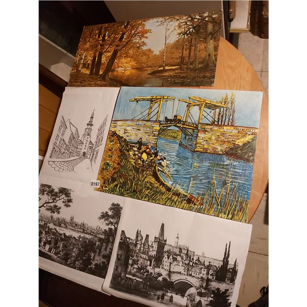 2 Paintings and 3 Sketches Various Sizes Artists Unknown