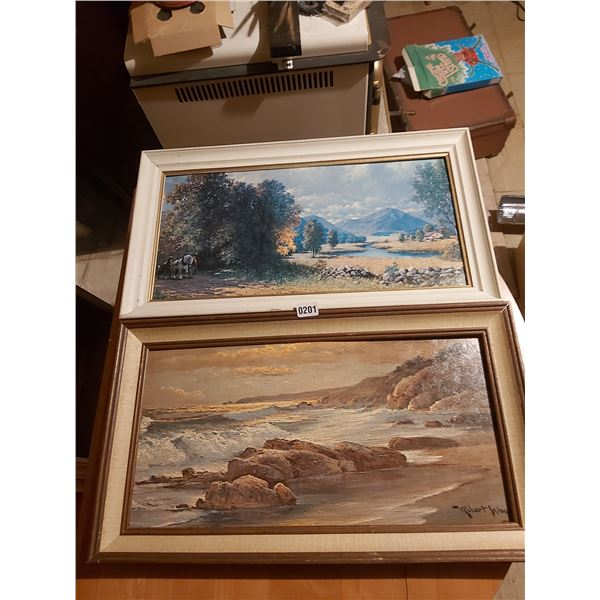 """Ocean Painting and Valley with River by Robert Wood 27""""W x 15""""H"""