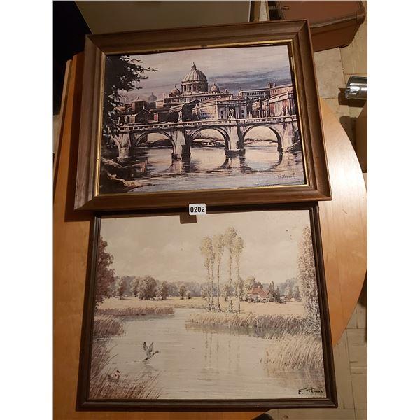 "Cathedral by Bridge Artist - P. Harnett 23""W x 19""H & Ducks on Pond Artist - E. Thomas 21""W x 17""H"