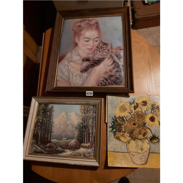 """Woman and Cat Picture Artist Unknown 19.5""""W x 23""""H - Mountain 16""""W x 13""""H - Sunflower Van Gogh 11""""W"""