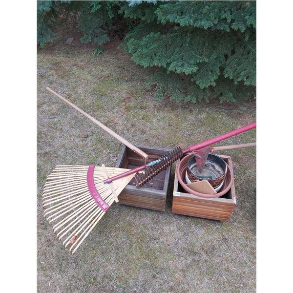 Assorted Planters & Gardening Tools
