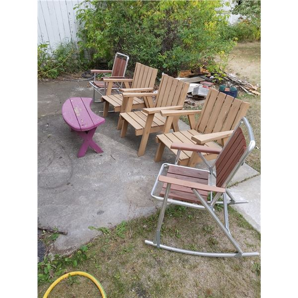 5 Lawn Chairs & a Bench