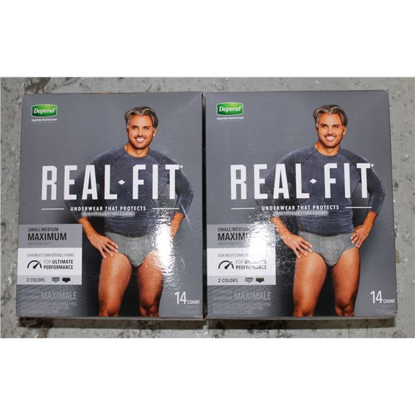 2 CASES OF DEPEND REAL-FIT S/M UNDERWEAR